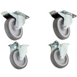 Kit de 4 roues, 2 avec freins pour support & armoires