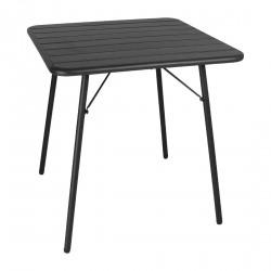 Table à lattes en acier noir Bolero