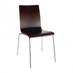 4 chaises dossier carré marron foncé Bolero