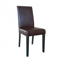 2 chaises en simili cuir marron foncé patiné Bolero