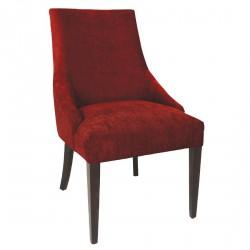 2 chaises de restauration tendance en tissu rouge foncé Bolero
