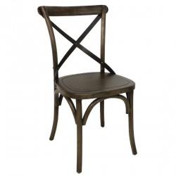 2 chaises en bois dossier croisé noyer Bolero