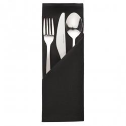 10 serviettes noires en polyester Mitre