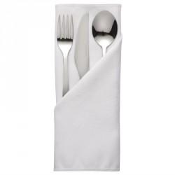 10 serviettes blanches en polyester Roslin Mitre