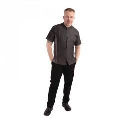 Veste mixte à boutons pression manches courtes Chef Works Tribeca denim noir