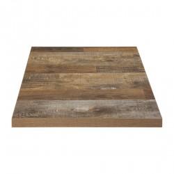 Plateau de table carré effet bois vieilli 700mm Bolero