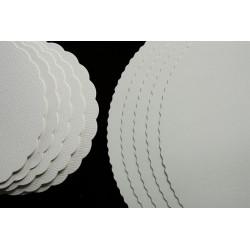 Semelles Ø 15 cm fibres pure BLANC 475g/m² rond festonné 25 pièces