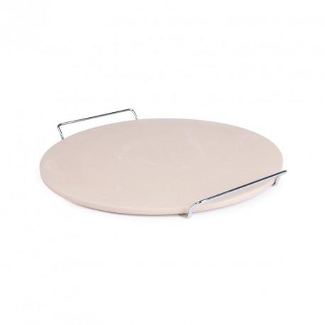 Pierre à pizza ronde avec support métal de service