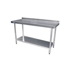 Table de travail 60cm avec rebord inox pour cuisine