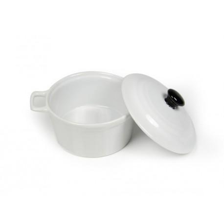 Cocotte Ø 10 x (h)5 cm ronde en porcelaine blanc