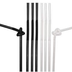 100 pailles noires et blanches flexibles