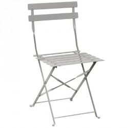2 Chaises de terrasse en acier grise Bolero