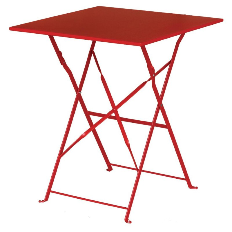 Table De Terrasse Carré Rouge En Acier Bolero