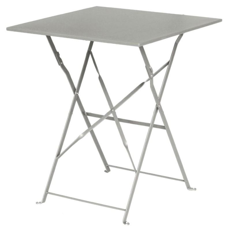 Table De Terrasse Grise Carré En Acier Bolero