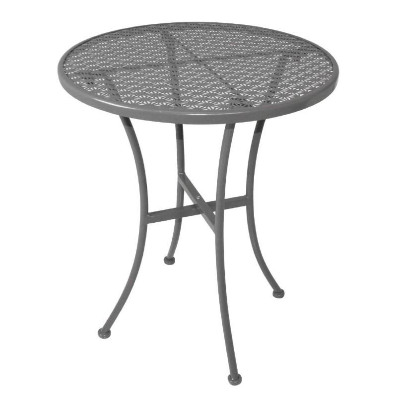 table bistro ronde grise en acier ajour 600mm bolero. Black Bedroom Furniture Sets. Home Design Ideas
