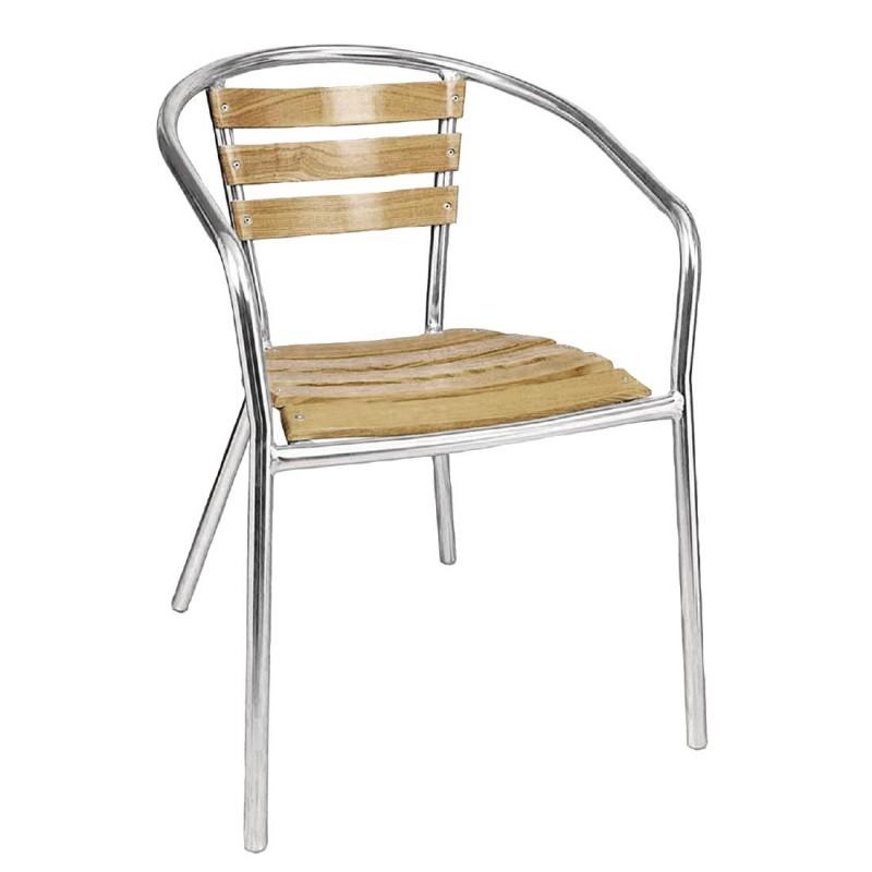 empilables aluminium 4 fauteuils frêne et Bolero en iXTPwkluOZ